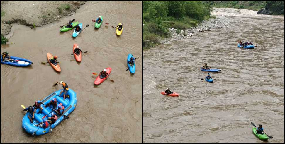 Image: Canoe rafting in the Nayar river of Pauri Garhwal