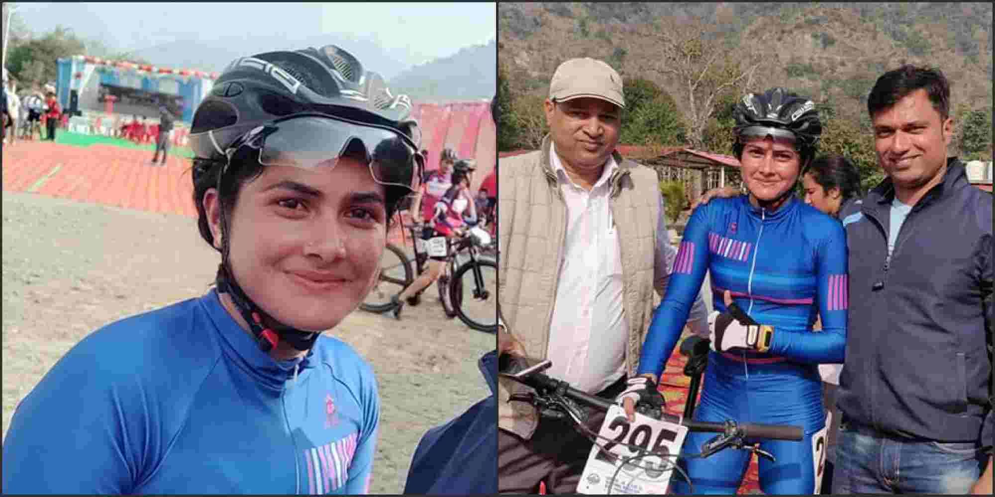 Image: Poonam kholiya wins gold in mountain bike race
