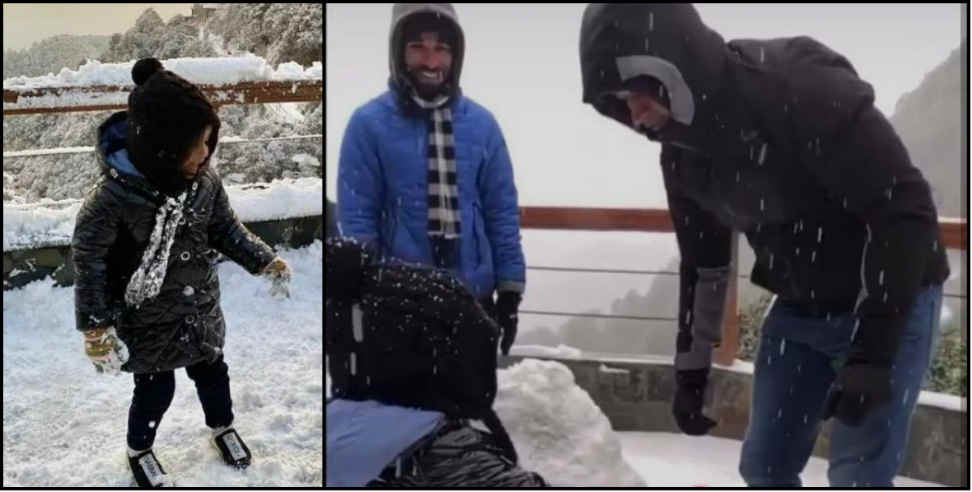 Image: Ms dhoni enjoy snowfall with jeeva and family in mussoorie
