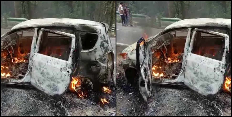 Image: Car caught fire in nainital