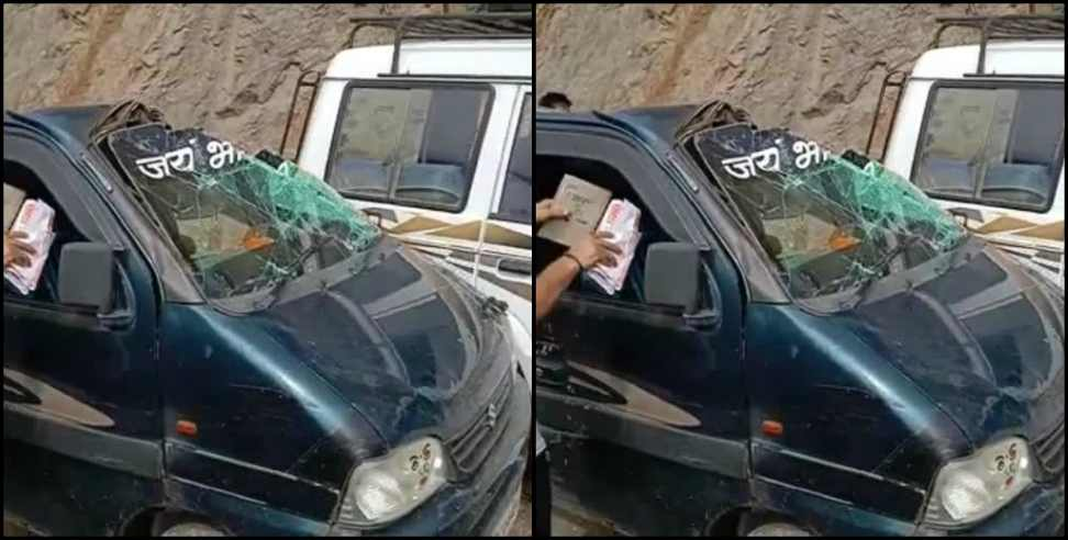 Image: Stones fell from mountain on Rishikesh Badrinath road