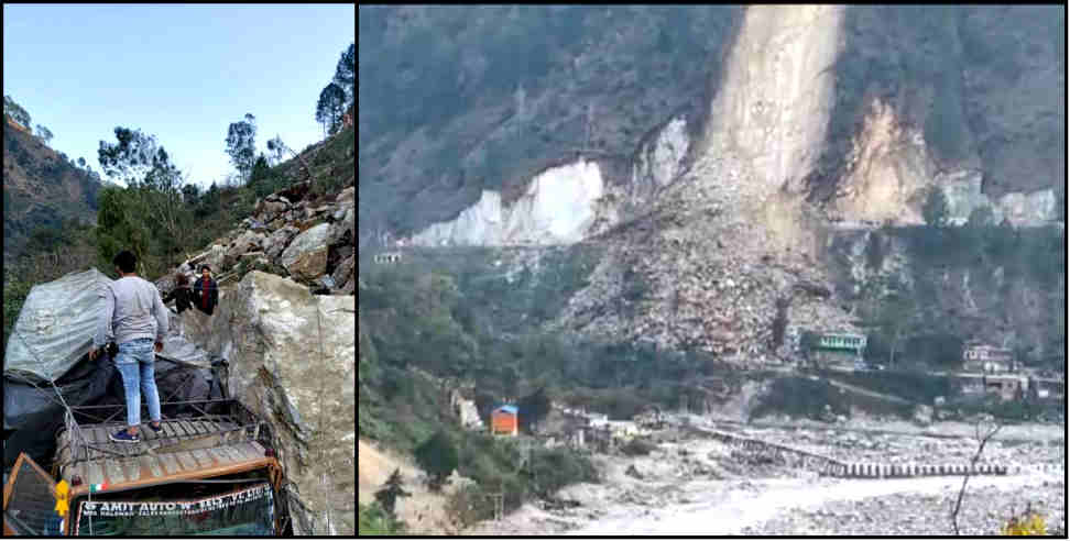 Image: Landslide on badrinath high way,three house and vehicle buried
