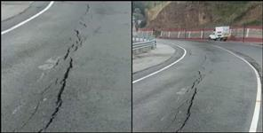 Cracks on road near Tehri Garhwal Chamba Tunnel