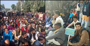 Protest against Char dham shrine board dehradun