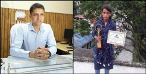 rudraprayag topper sonika felicitated by dm mangesh ghildiyal