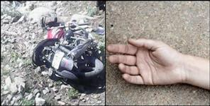 Bike fell into a ditch in Srinagar