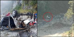 Car fallen in ditch in tehri garhwal