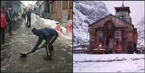 Half feet of snow accumulated in kedarnath