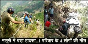 uttarakhand news: mussoorie road accident four people died