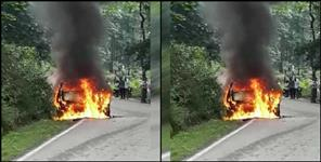uttarakhand: kotdwar car catch fire
