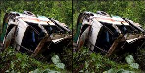bus fallan in ditch at dhumakote bhaun moter marg