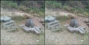 Antique sculptures found during road cutting at lakhamandal