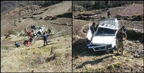 Tata sumo fallen in ditch in chamoli