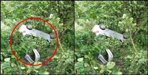 Car fell into ditch in almora