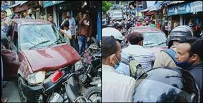 Drunk Youth hit 5 bikes with a car In Nainital