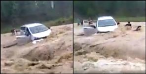 ramnagar car fallen in water stream