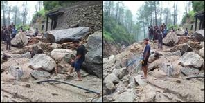 Destruction due to cloudburst in Rudraprayag
