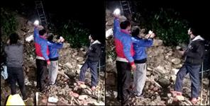 dehradun: Two houses damaged due to heavy landslide in mussoorie
