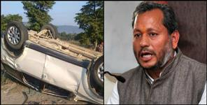 Bjp mp tirath singh rawat car accident on delhi-haridwar highway
