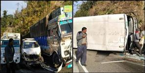 Bus overturned and truck many vehicles collided with each other in bhimtal