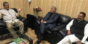 KISHOR UPADHYAYHARISH RAWAT AND VIJAY BAHUGUNA MEETING