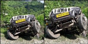 bolero fallen in ditch in rishikesh