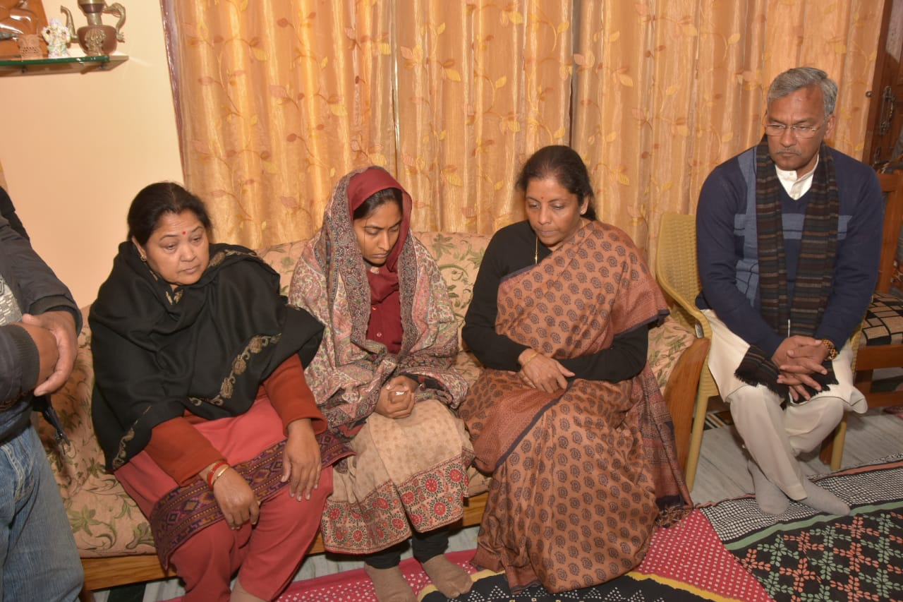 Nirmala sitharaman and trivendra singh rawat at sidharth nego house