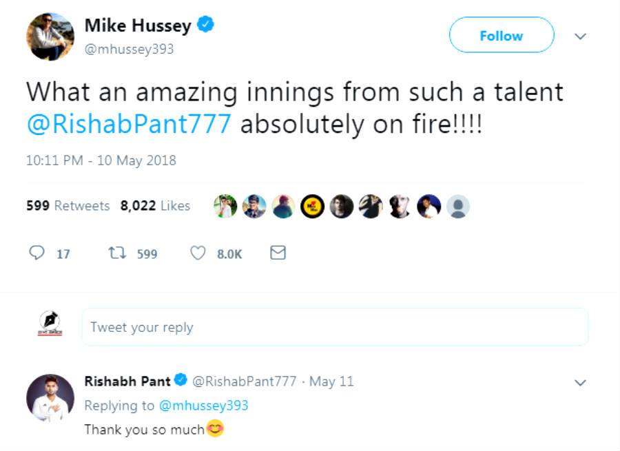 Mike Hussey Tweets about Rishabh Pant