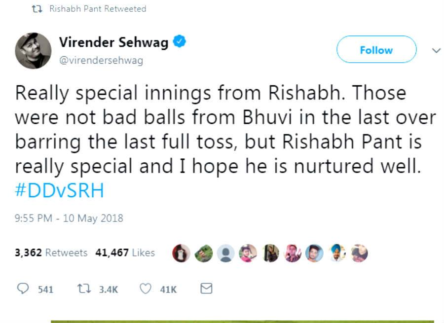 Virendra Sehwag Tweets about Rishabh Pant